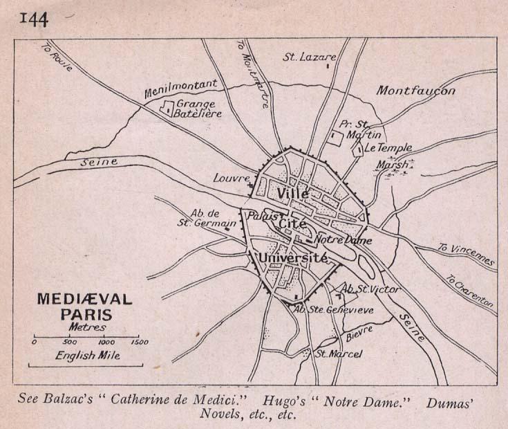 Mapa de París en la Edad Media