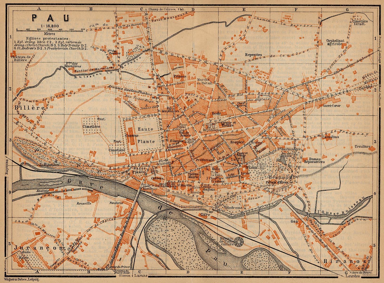 Pau Map, France 1914