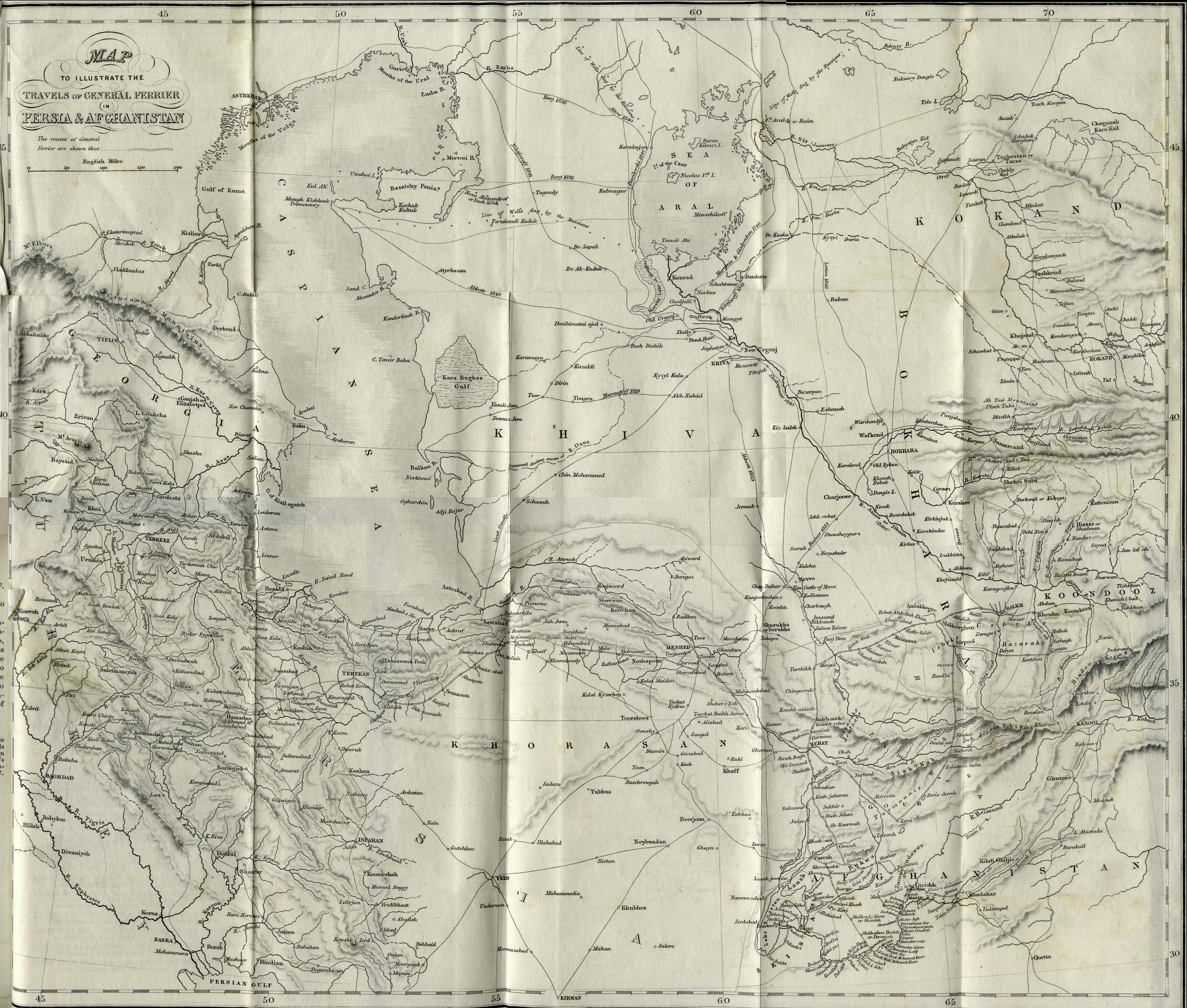 Persia and Afghanistan Map 1856