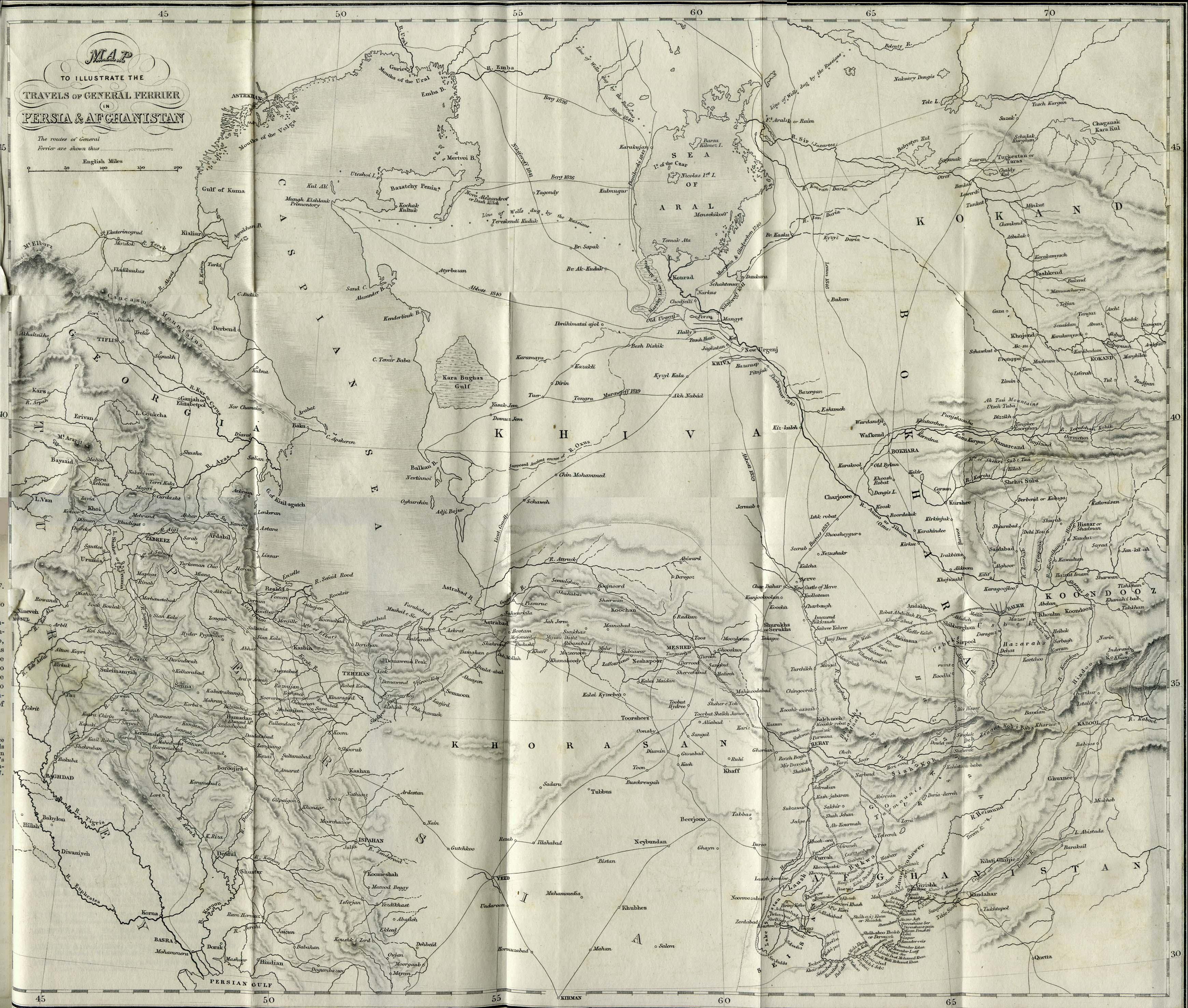Mapa de Persia y Afganistán 1856