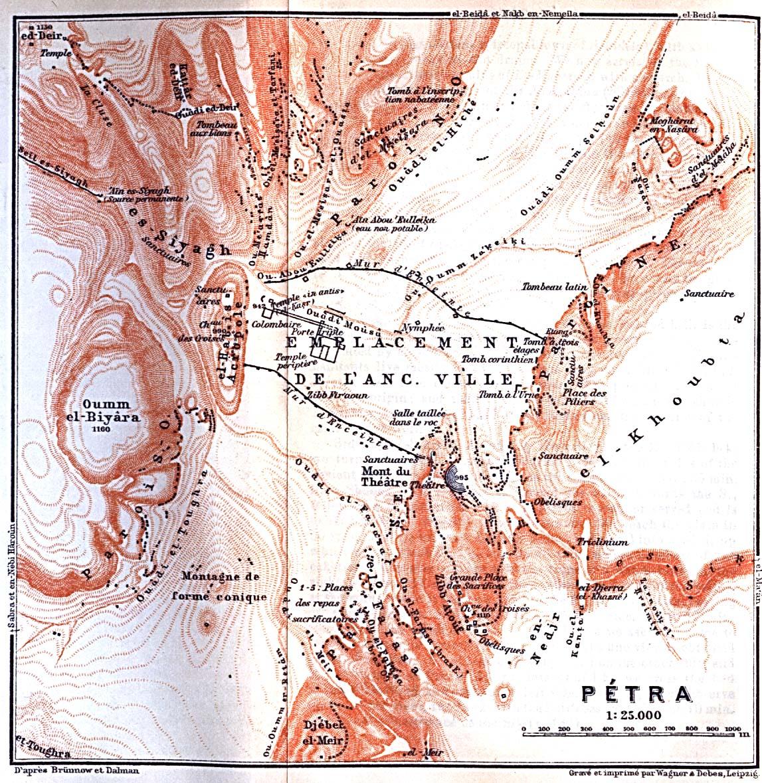 Petra Map, Jordan 1912
