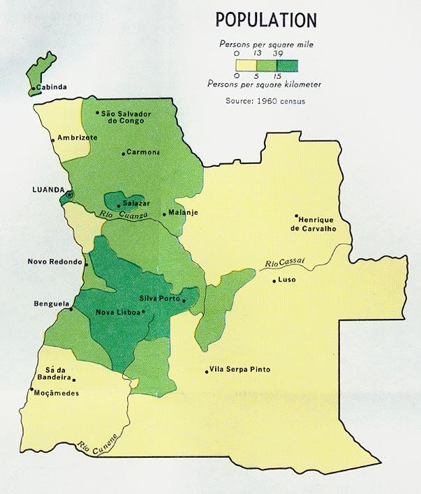 Mapa de Población de Angola