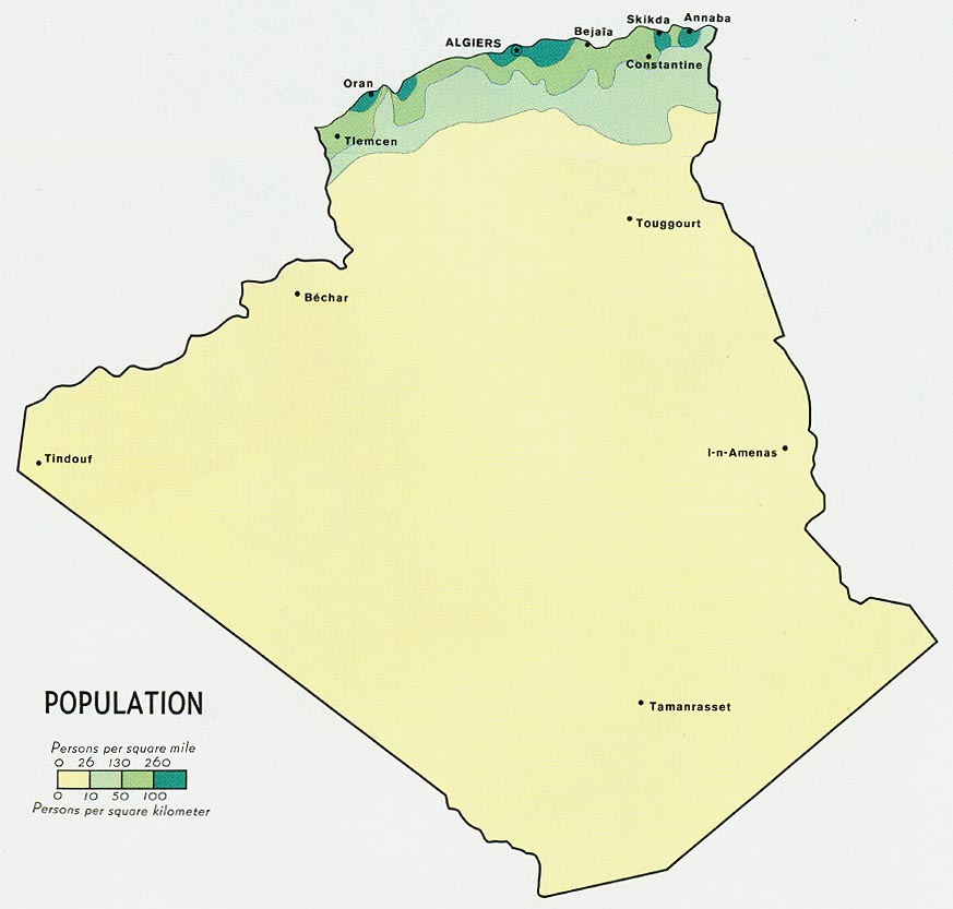 Mapa de Población de Argelia