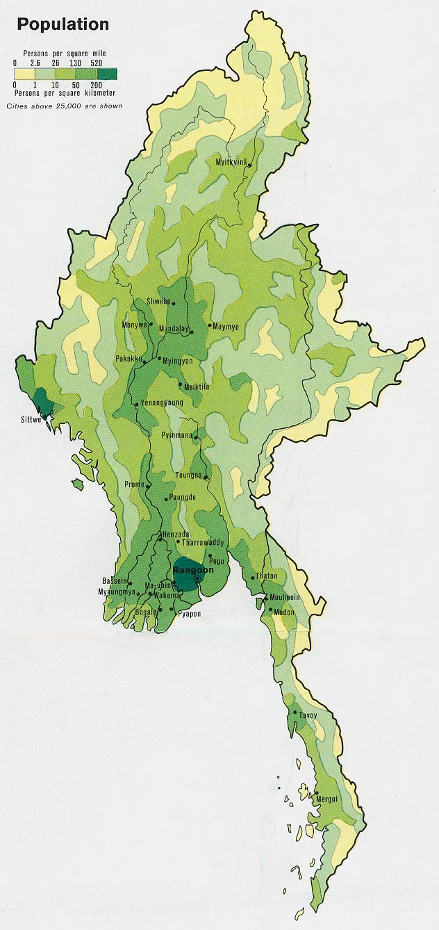 Burma (Myanmar) Population Map