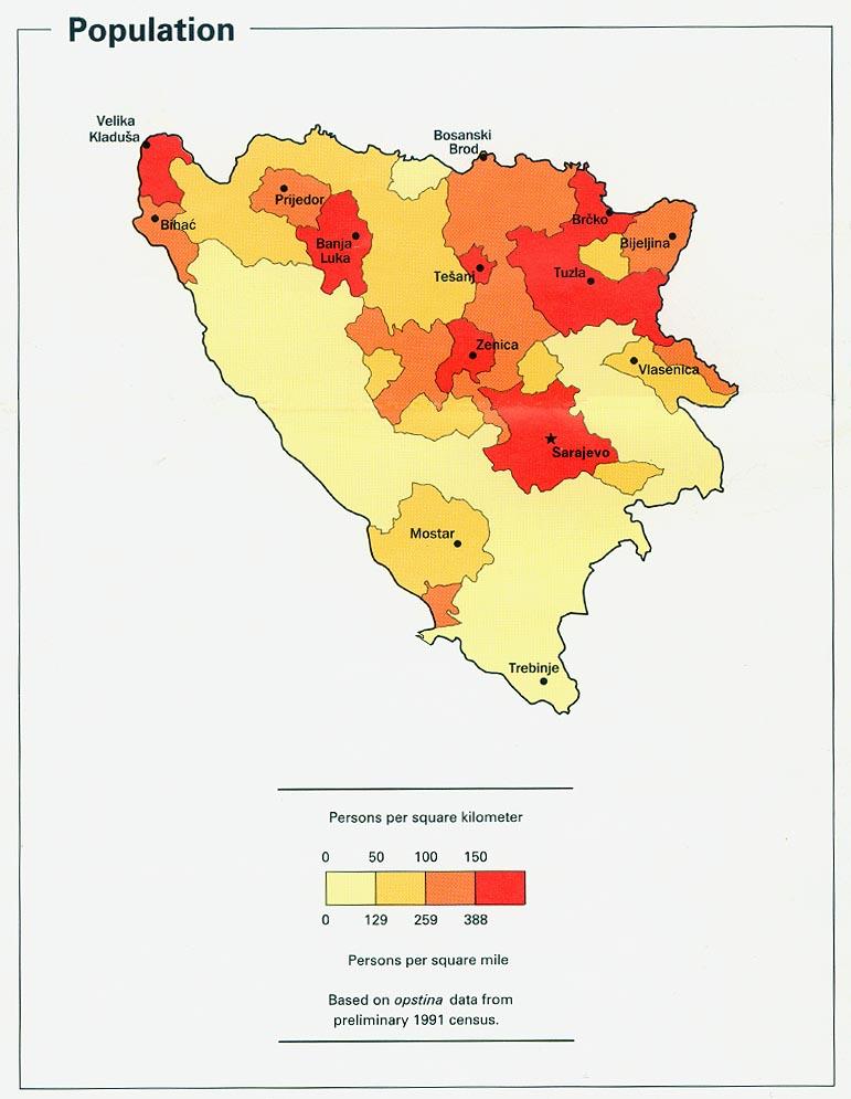 Bosnia and Herzegovina Population Map