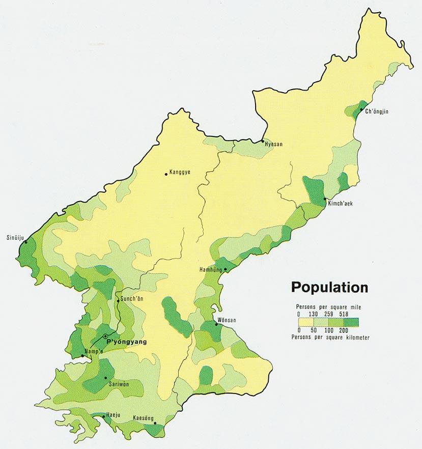 Mapa de Población de Corea del Norte
