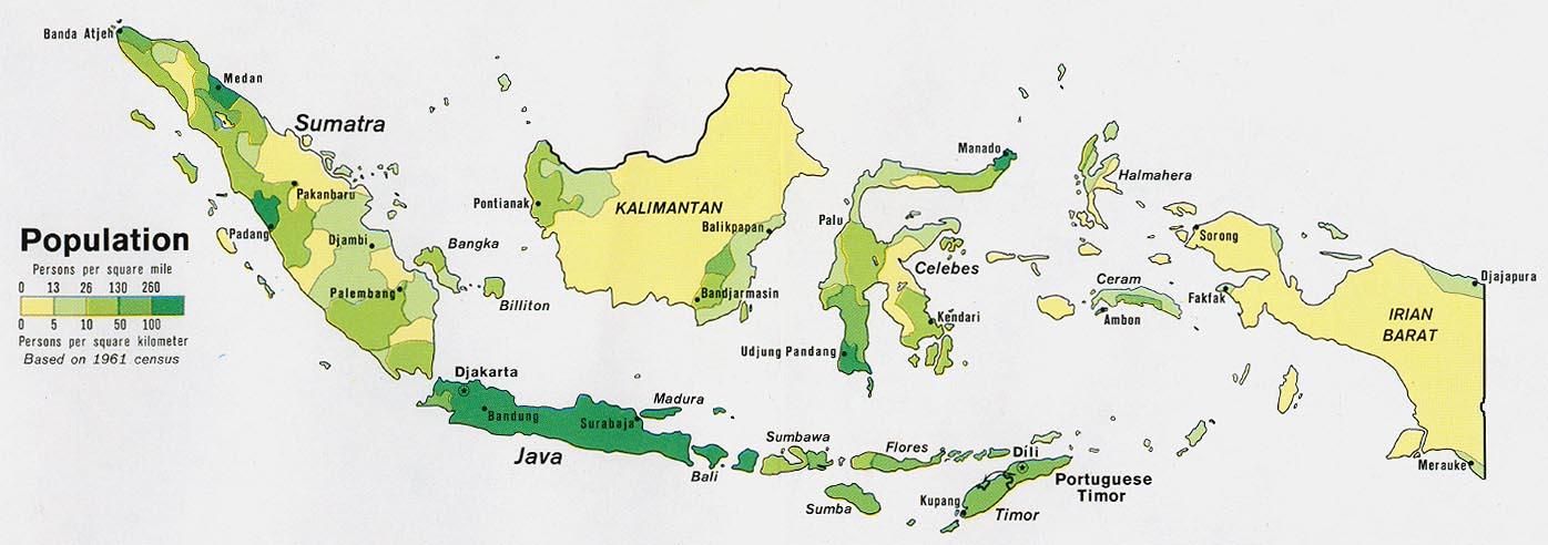 Mapa de Población de Indonesia
