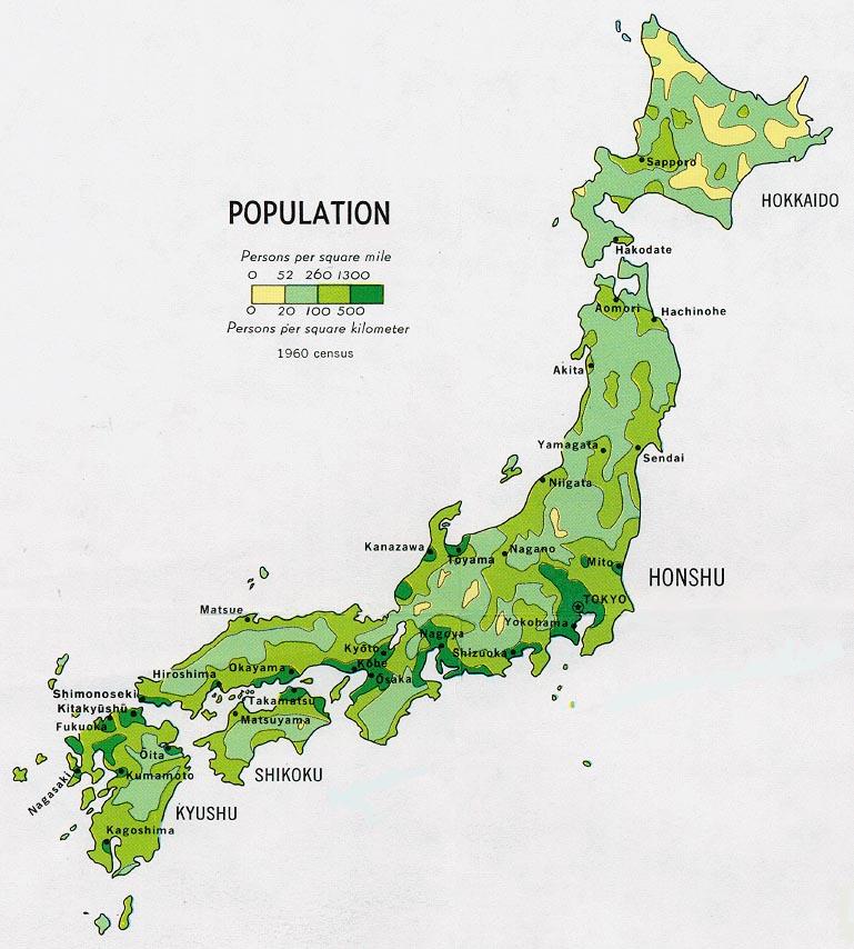 Mapa de Población de Japón