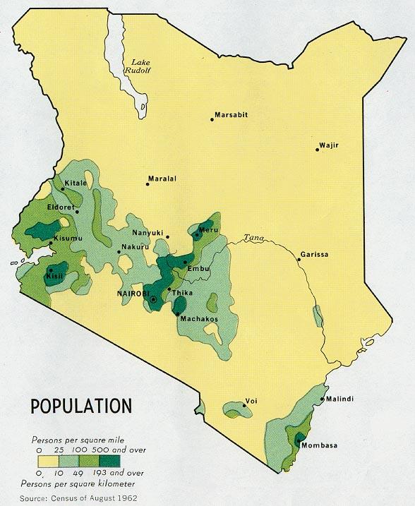 Mapa de Población de Kenia