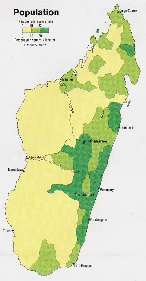 Mapa de Población de Madagascar