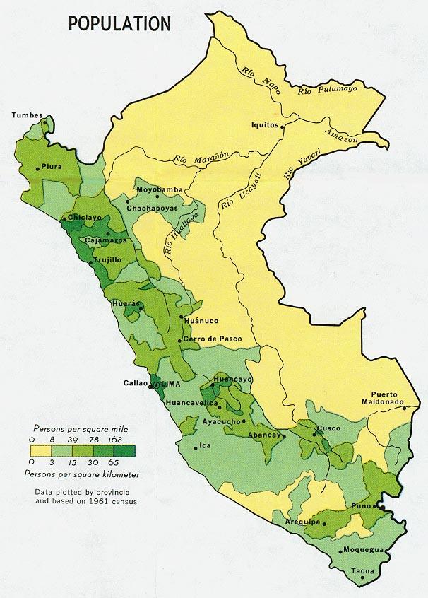 Mapa de Población de Perú