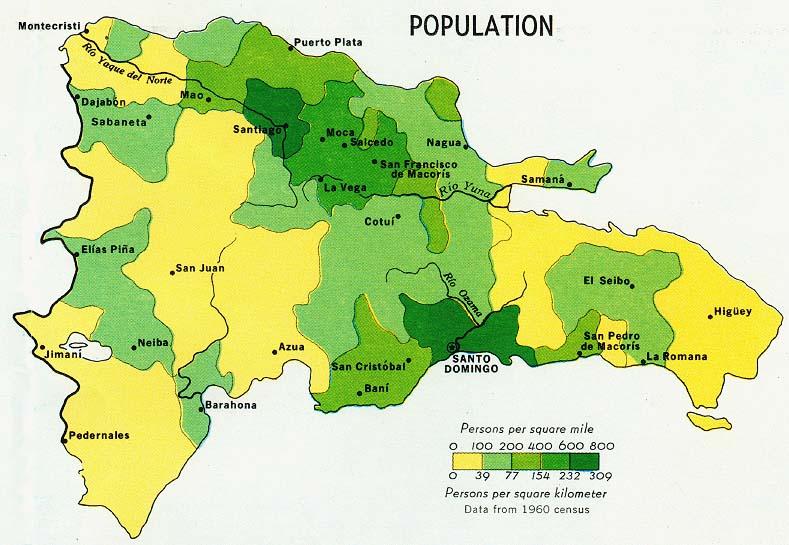 Mapa de Población de República Dominicana
