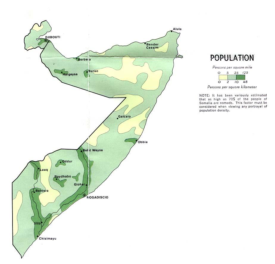 Somalia Population Map