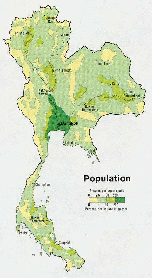 Mapa de Población de Tailandia
