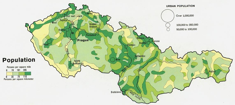 Mapa de Población de las Repúblicas Checa y Eslovaca