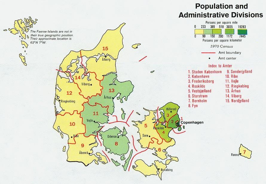 Mapa de Población y Divisiones Administrativas de Dinamarca