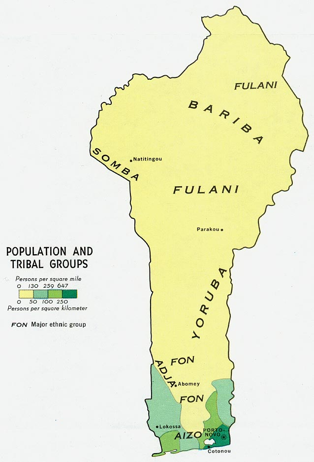 Benin Population and Tribal Groups Map