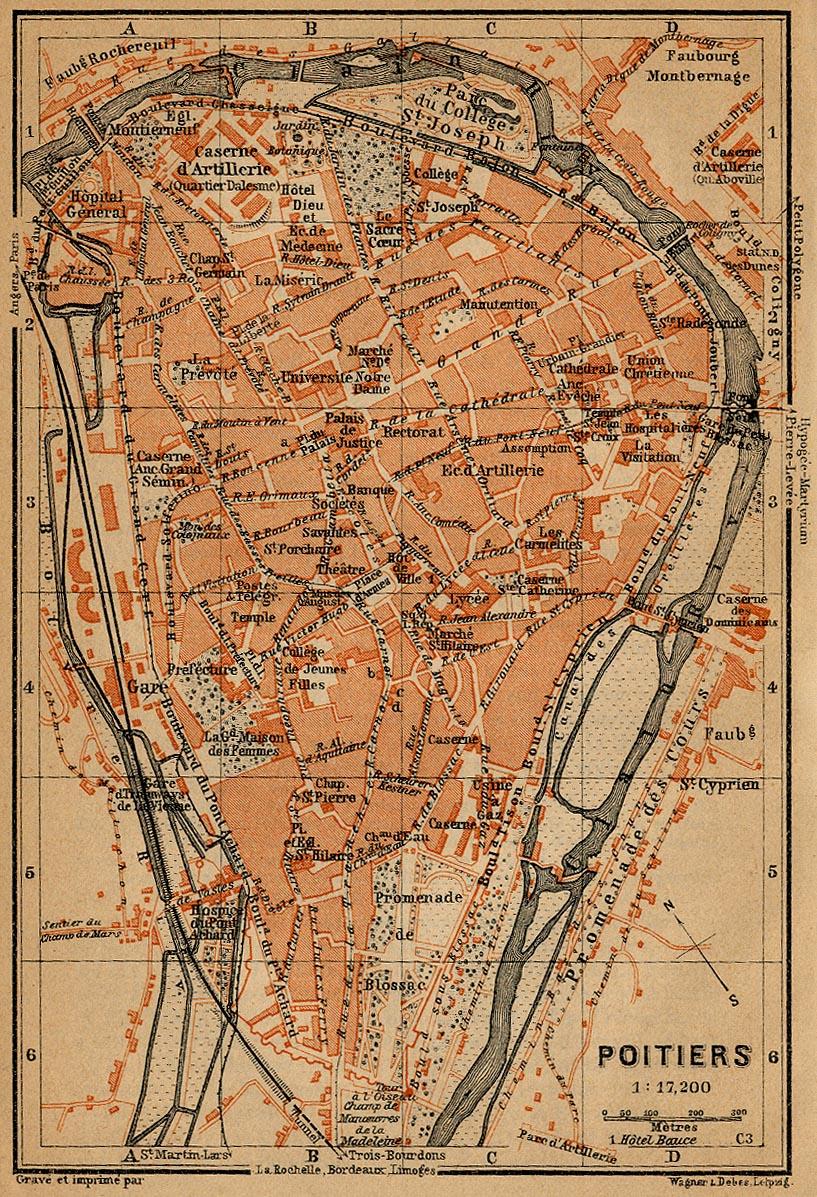 Mapa de Poitiers, Francia 1914