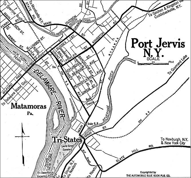 Mapa de Port Jervis, Nueva York, Estados Unidos 1920