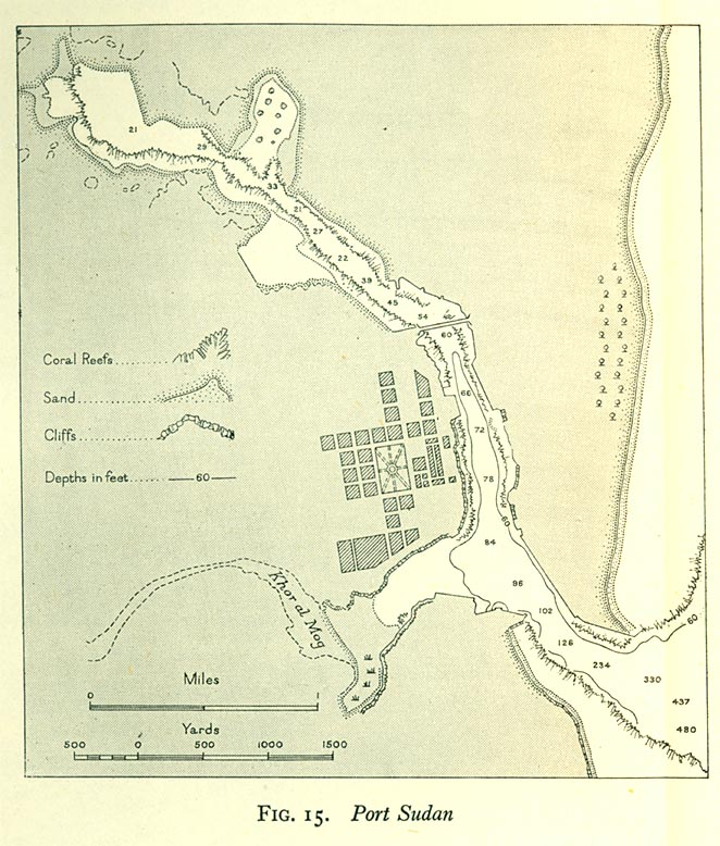 Mapa de Port Sudan, Sudán 1946