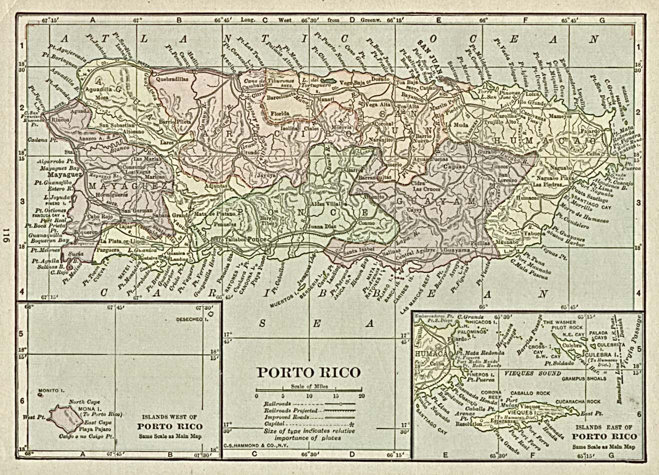 Mapa de Porto (Puerto) Rico, 1920