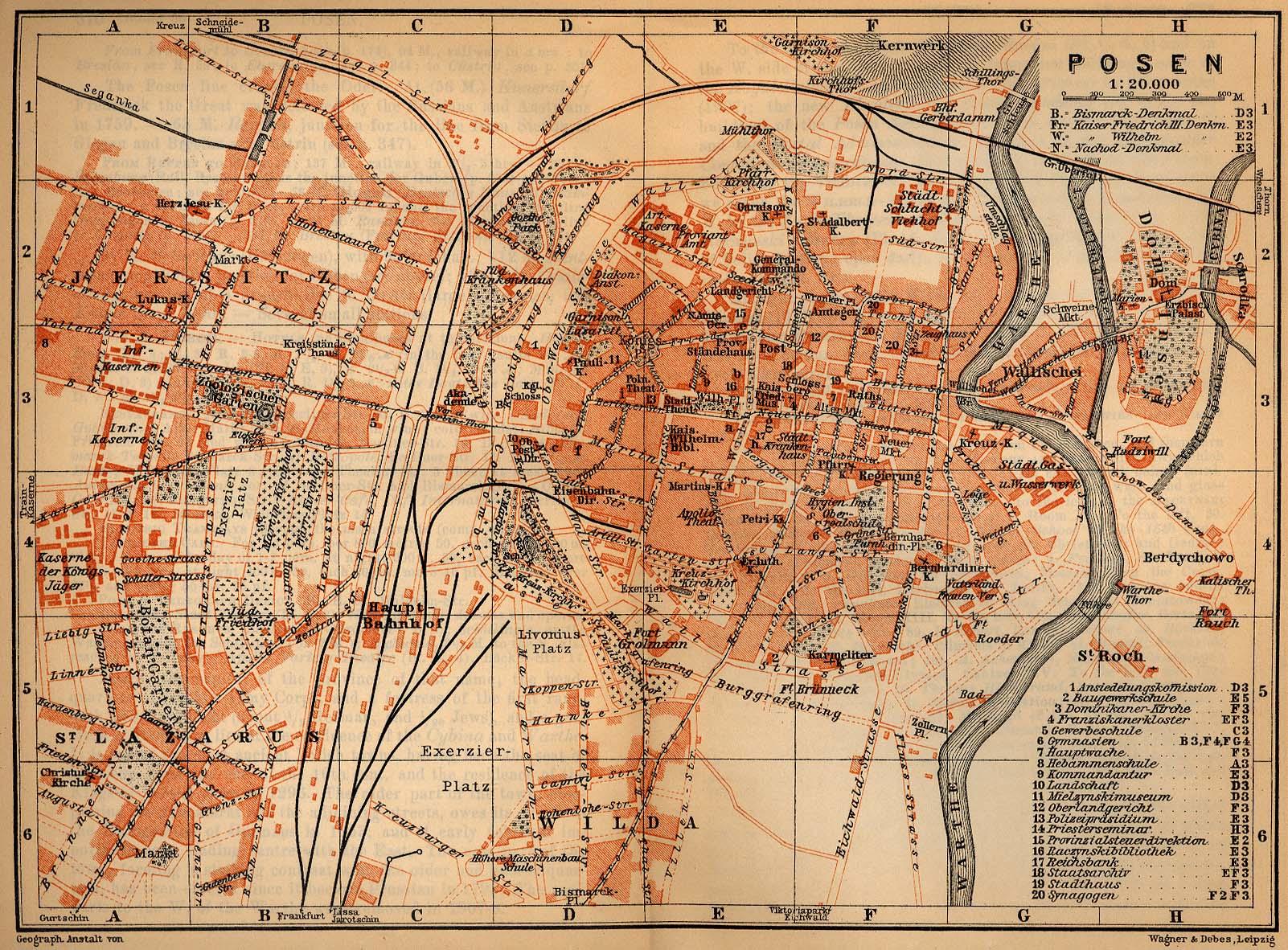 Mapa de Poznan (Posen), Polonia 1910