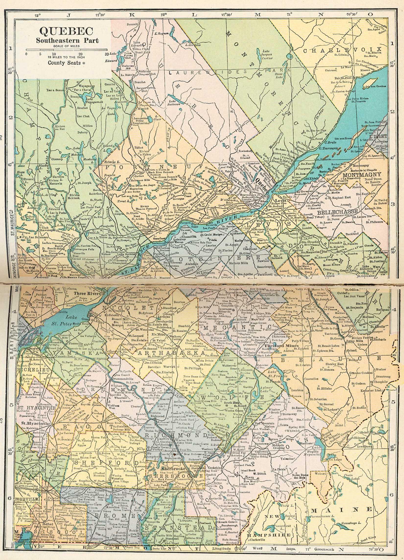 Mapa de Quebec Suroriental , Canadá 1921