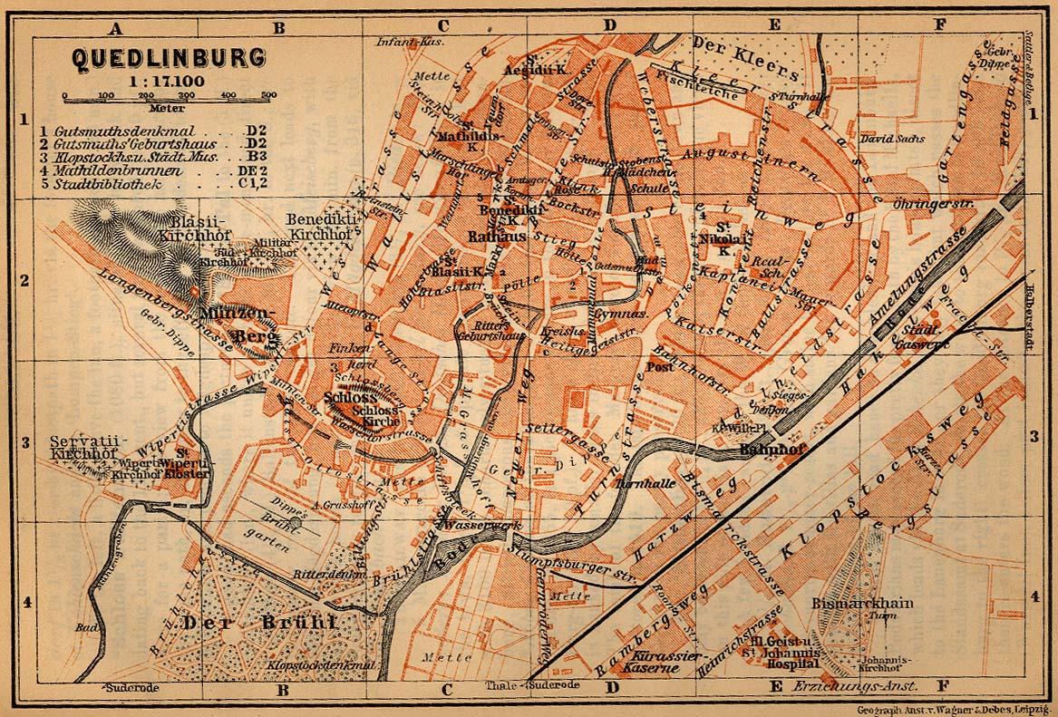 Mapa de Quedlinburg, Alemania 1910
