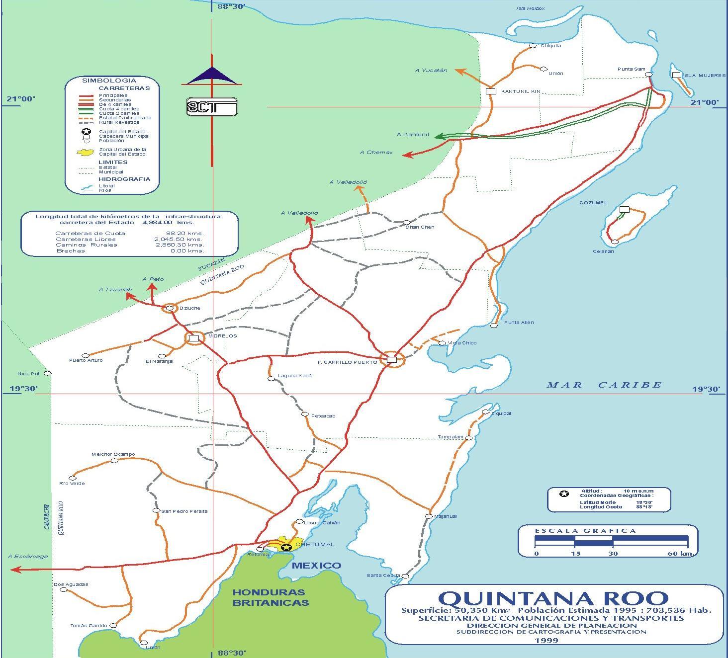 Mapa de Quintana Roo (Estado), Mexico