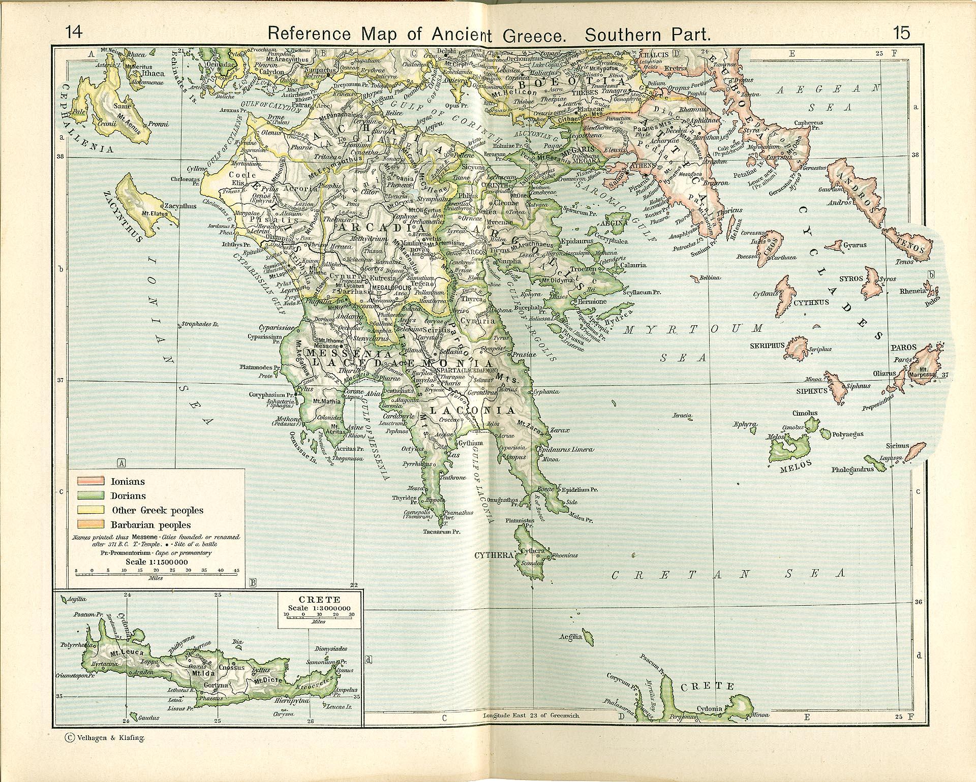 Mapa de Referencia de la Grecia Antigua, Parte Meridional