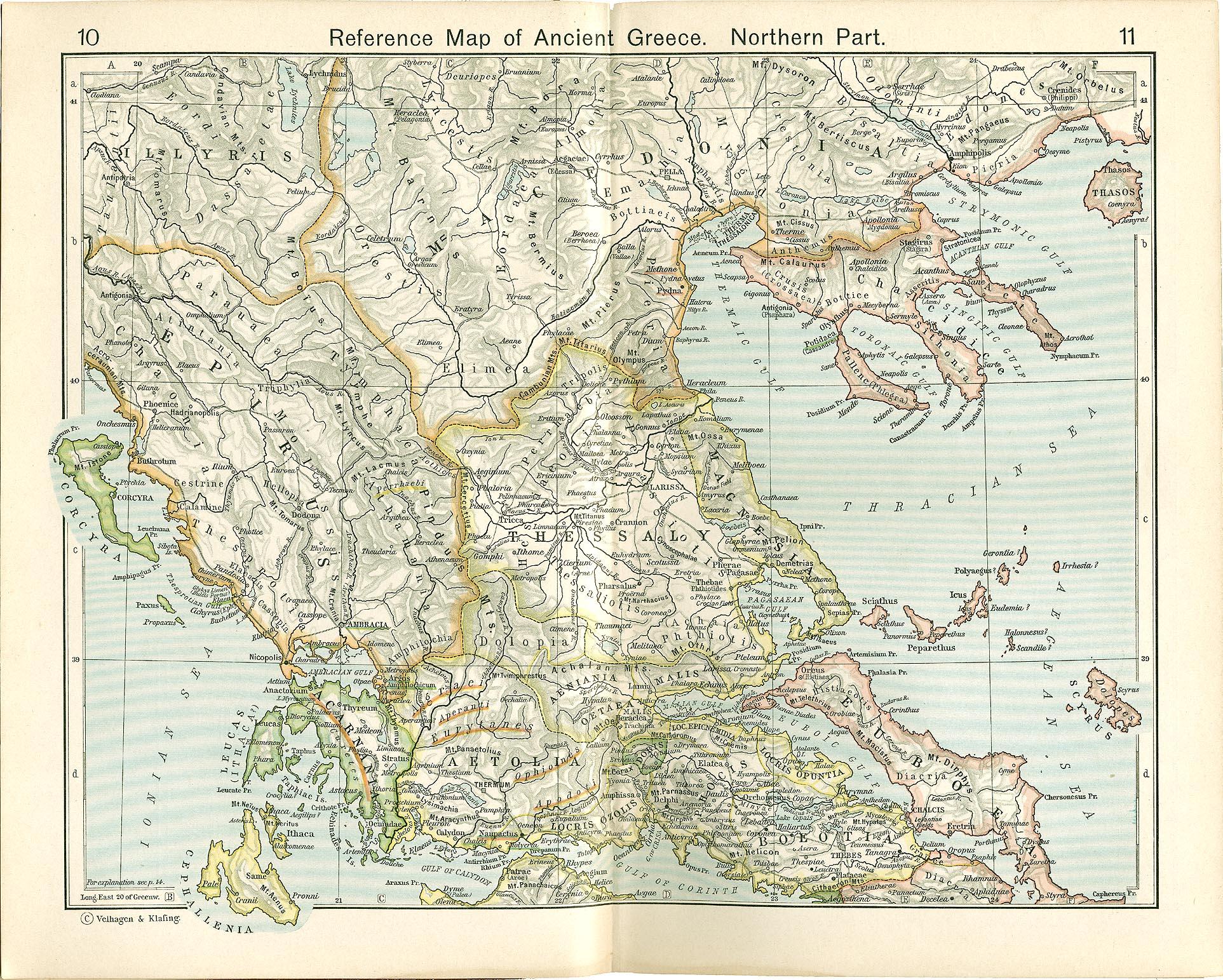 Mapa de Referencia de la Grecia Antigua, Parte Norte