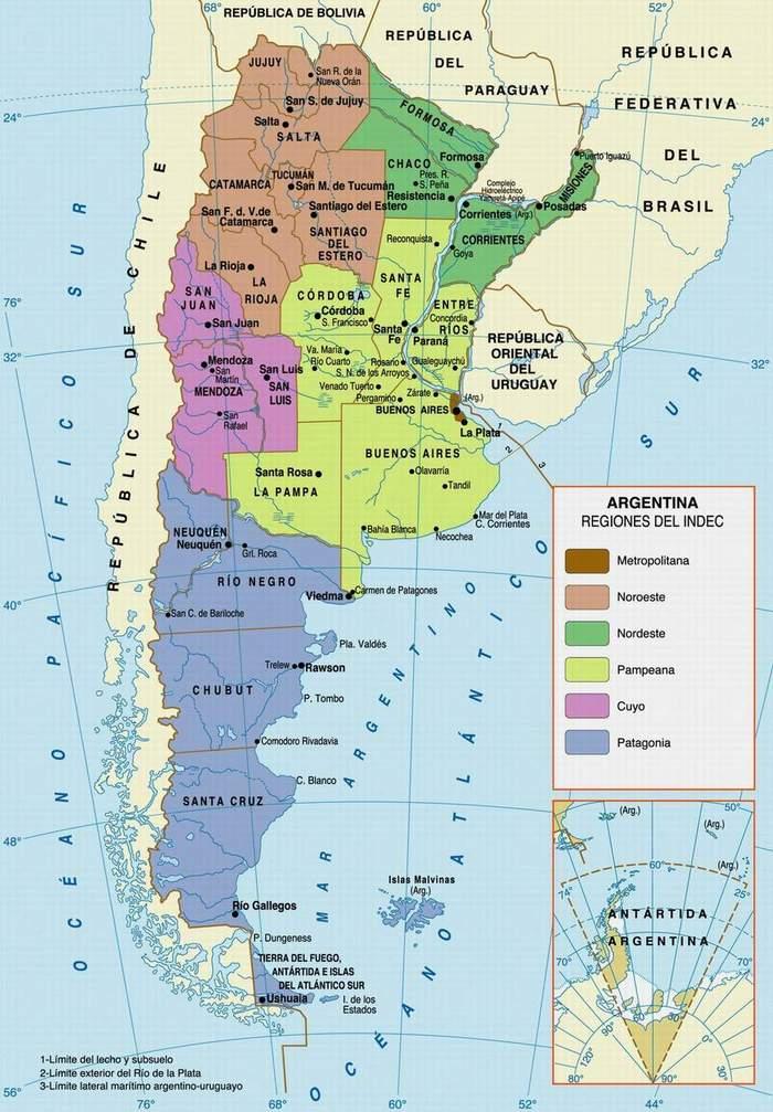 Mapa de Regiones de Argentina