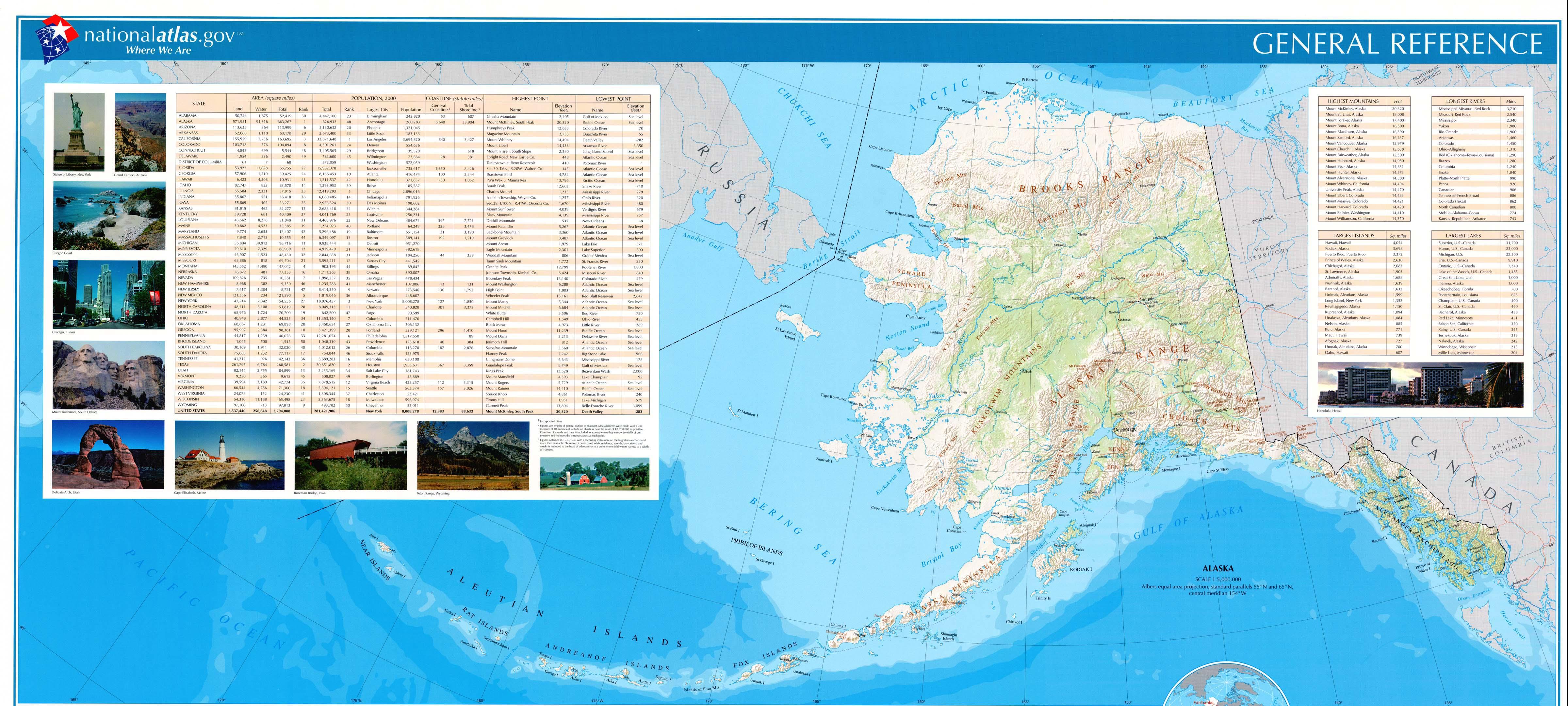 Mapa de Relieve Sombreado de Alaska, Estados Unidos