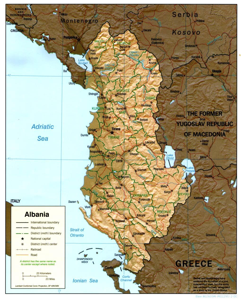 Mapa de Relieve Sombreado de Albania