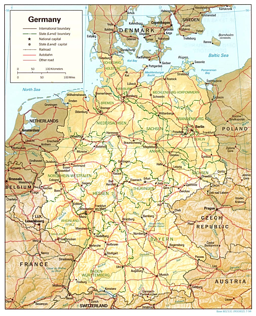 Mapa de Relieve Sombreado de Alemania