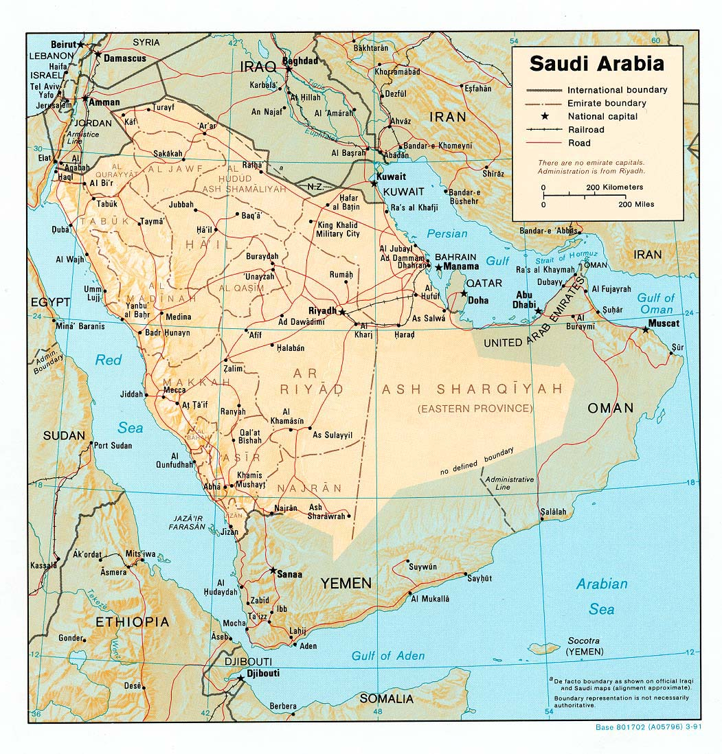 Mapa de Relieve Sombreado de Arabia Saudita