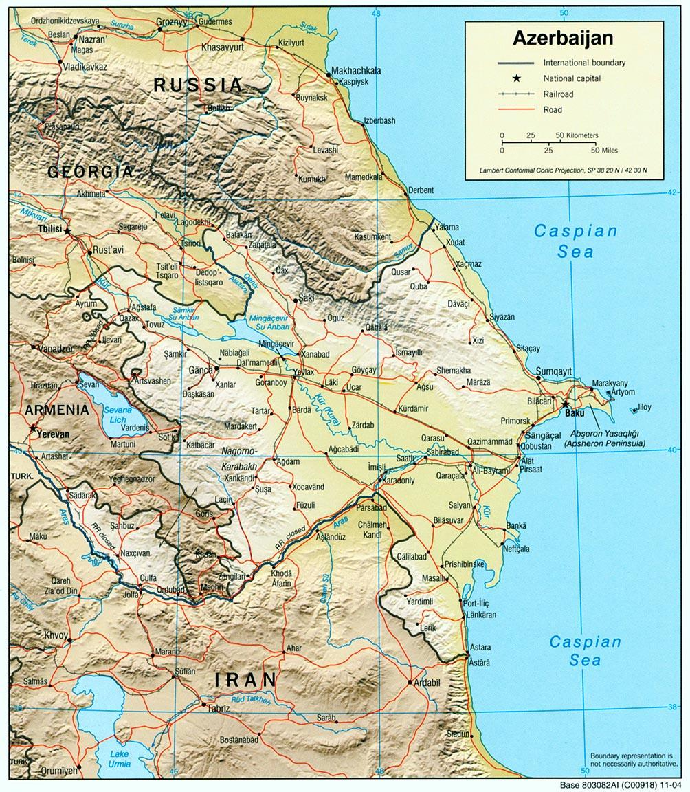 Mapa de Relieve Sombreado de Azerbaiyán