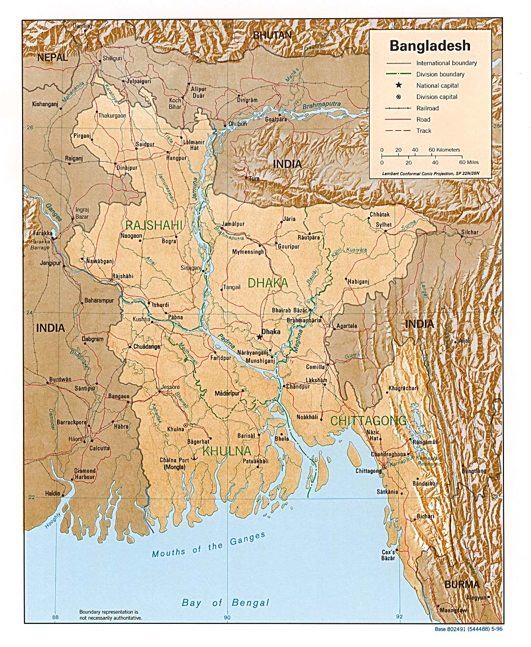 Mapa de Relieve Sombreado de Bangladesh