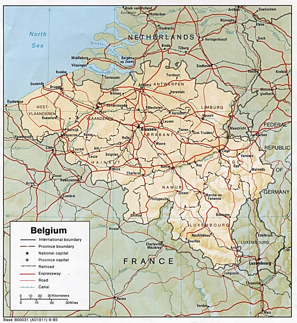 Belgium Shaded Relief Map