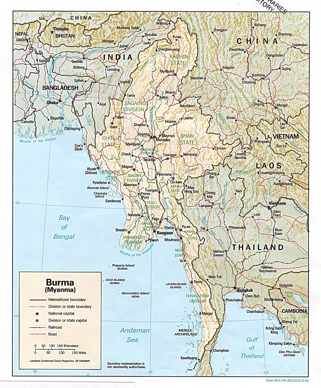 Mapa de Relieve Sombreado de Birmania (Myanmar)