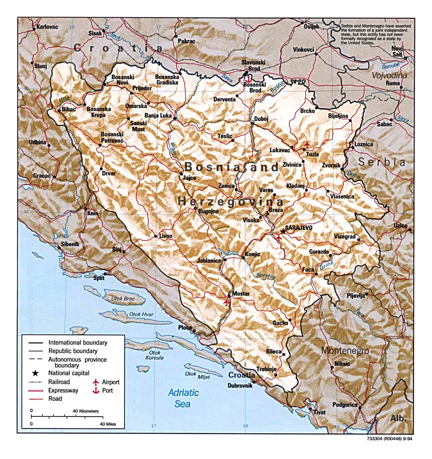 Mapa de Relieve Sombreado de Bosnia y Herzegovina