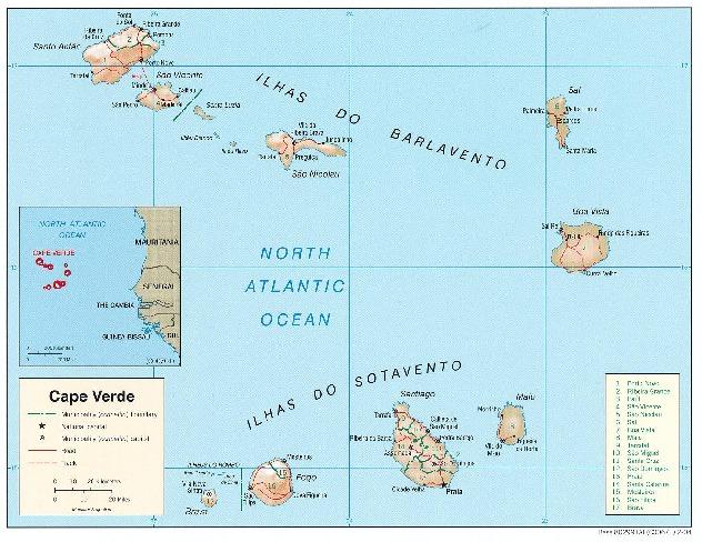 Mapa de Relieve Sombreado de Cabo Verde