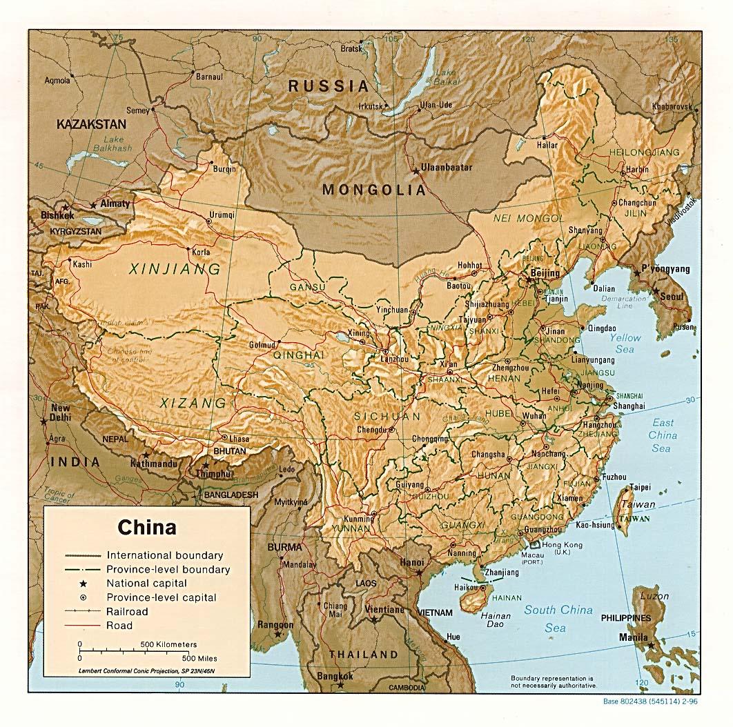Mapa de Relieve Sombreado de China