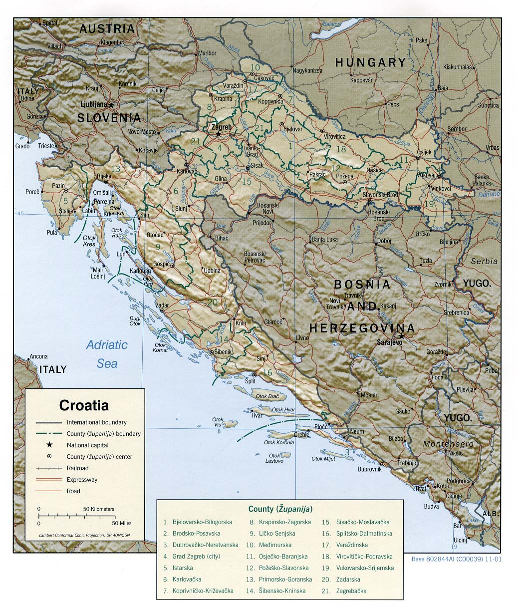 Croatia Shaded Relief Map