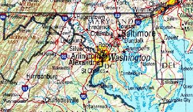 Mapa de Relieve Sombreado de Delaware y Maryland, Estados Unidos