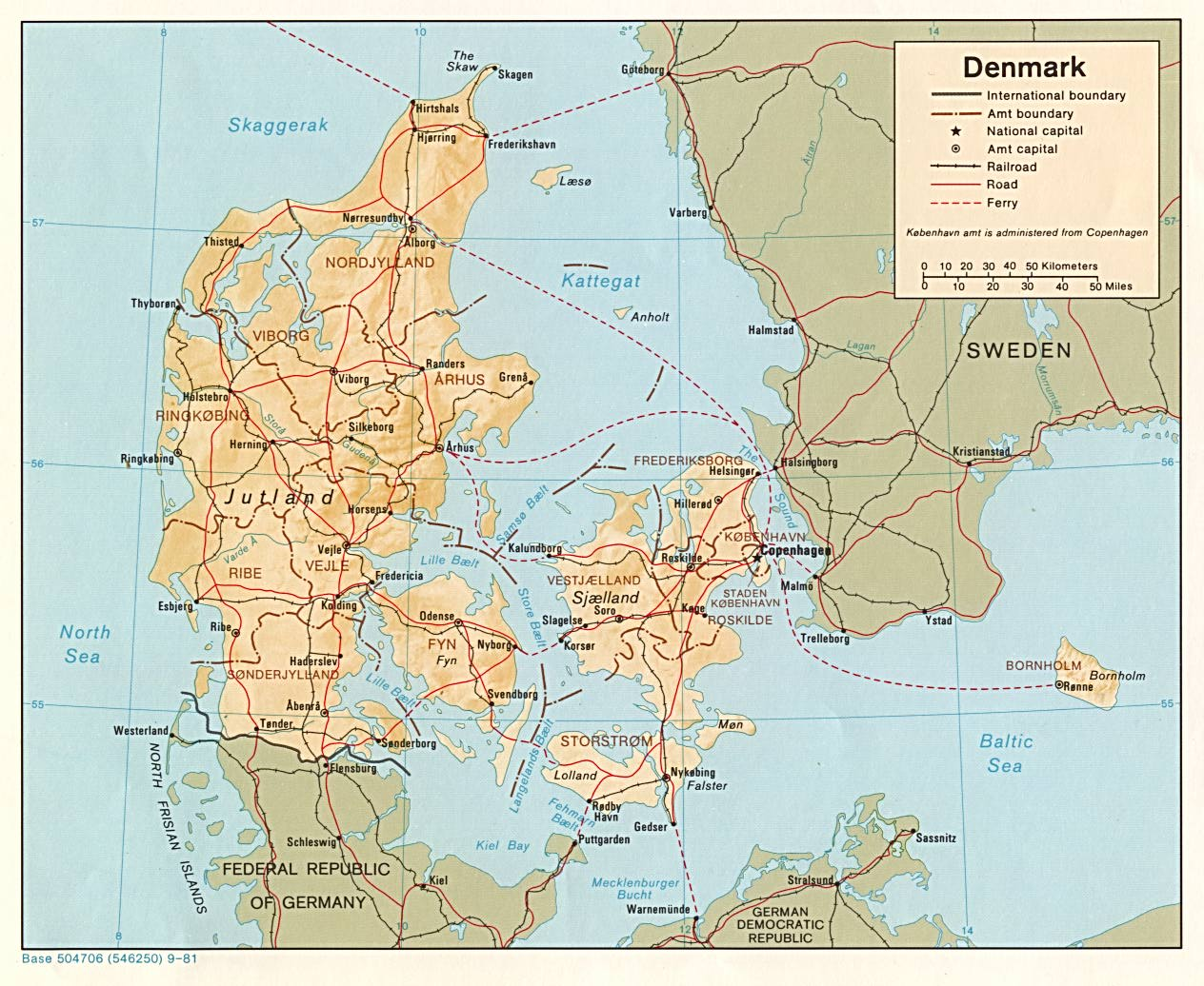 Mapa de Relieve Sombreado de Dinamarca