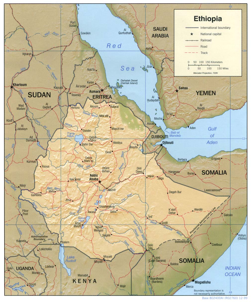 Mapa de Relieve Sombreado de Etiopía