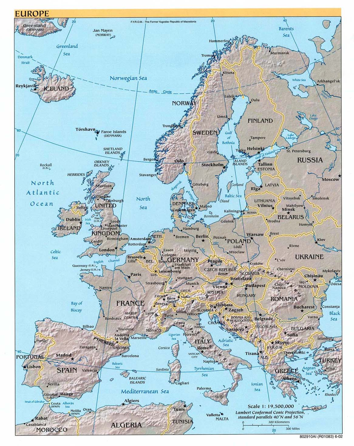 Europe shaded relief map 2002