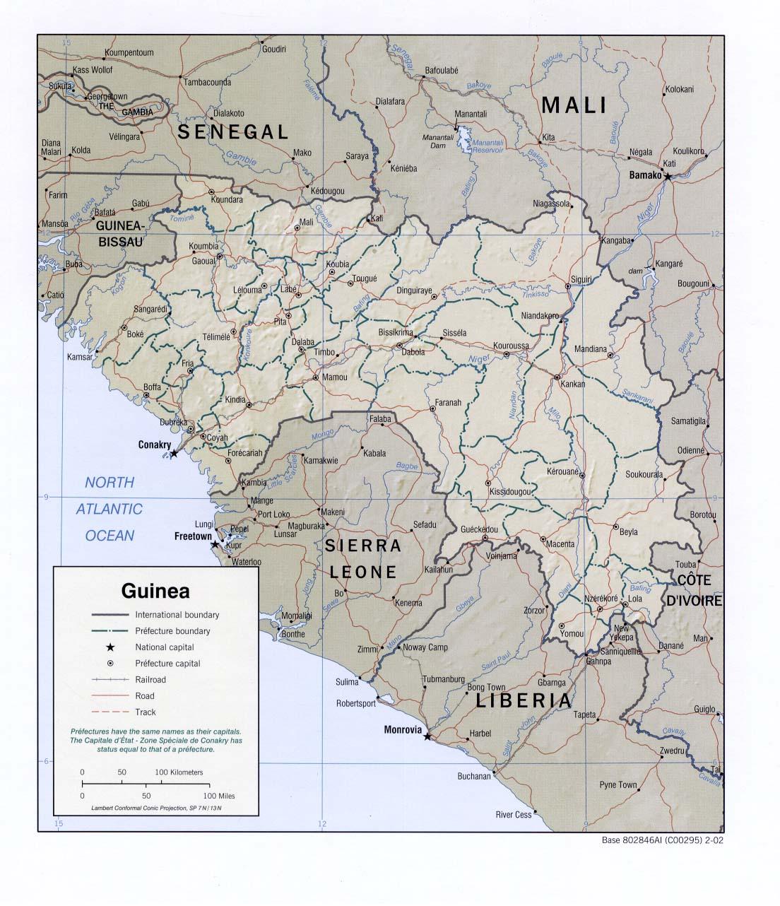Mapa de Relieve Sombreado de Guinea
