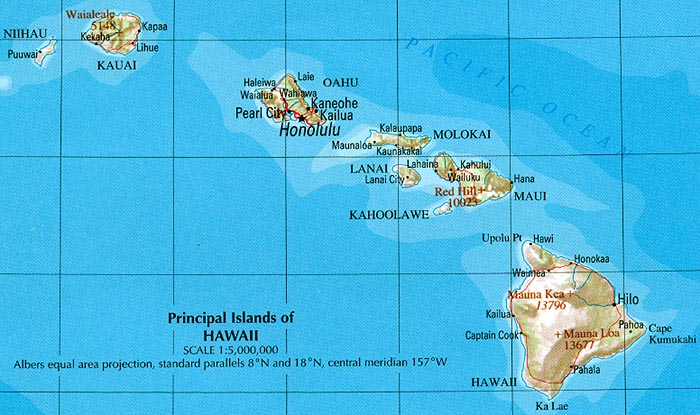 Hawaii Shaded Relief Map, United States